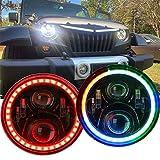 RGB LED Headlights for Jeep Wrangler TJ LJ JK JKU, 7-inch Rotating Rover Halo Sport Lights, Color Changing...