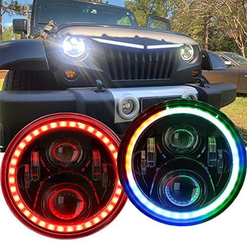 RGB LED Headlights for Jeep Wrangler TJ LJ JK JKU, 7-inch Rotating Rover Halo Sport Lights, Color Changing Angel Eye Headlamp, DRL High/Low Beam,2 PCS