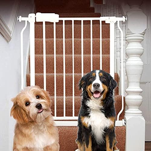 KTDT Puertas estrechas para bebés para escaleras, Puerta para Mascotas de Metal Blanco de Montaje a presión con Puerta para Gatos/Perros, 61-265,9 cm (tamaño: 146-157,9 cm)