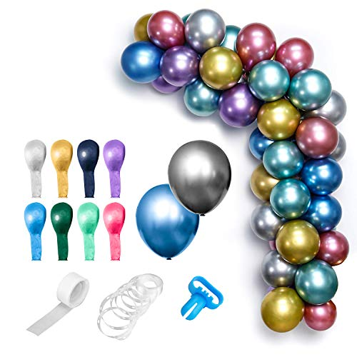Huidtoon 50 stuks chroom ballonnen + 3 stuks DIY ballonnen ark slinger decoratie strepen kit, 30 cm 8 kleuren extra metallic latex ballonnen met 4.88 m strips plakband, 100 dot gule, 1 bindgereedschap