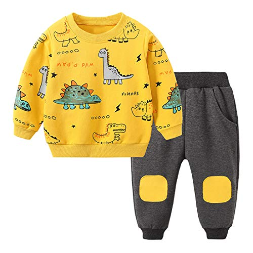 Toddler Baby Boy Clothing Sets Little Dinosaur Printed Long Sleeve Tops and Pants Kids 2pcs Outfits (Yellow, 4-5T)