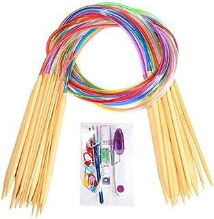 1mm NOVSIX Round Bamboo Circular Knitting Needles Set Including 18 Sizes 10mm