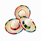 Natural Straw Mini Sombrero Mini Mexican hat,Tabletop Party Supplies,Fiesta Party Birthday Party Decorations Cinco de Mayo Party(Pack of 6)