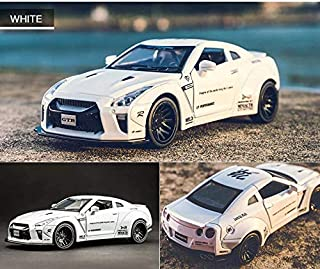 1:32 AMG Nissan GTR Benz Alloy car Model Toys for Children diecast car Toy Gift Sports hot Wheels Siku f1 Mini AUTO (White)