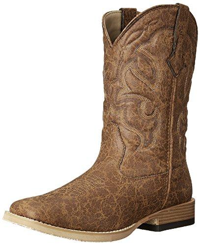 Roper Men's Vintage Square Toe Western Boot,Tan,12 M US
