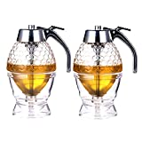 Kingrol 2 Pack Plastic Syrup Dispensers, 6.5 Ounces Honey Dispenser with Stand
