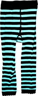 Turquoise Blue & Black Striped Kids Leggings from Clothing