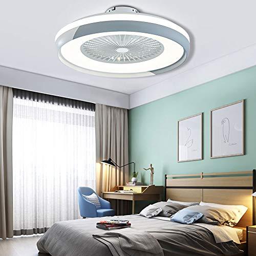 Ventilador de techo con mando a distancia, velocidad regulable y ajustable para casa, bar, hotel, centro comercial, estilo sencillo y moderno, luz para ventilador, lámpara de techo (blanco + gris)