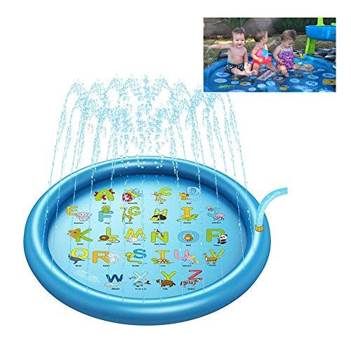Sprinklerpad Voor Kinderen, Grote Draagbare Waternevelmat, Blauwe Strooi En Spetter Speelspeelmat in De Zomer Buitentuin En Strandactiviteiten Voor Kinderen En Peuters