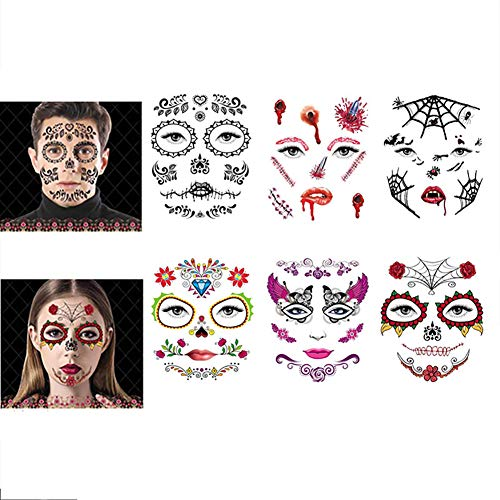 SOFIALXC Halloween Face Tattoo Sticker Temporary for Masquerade and Parties(6 Pack)