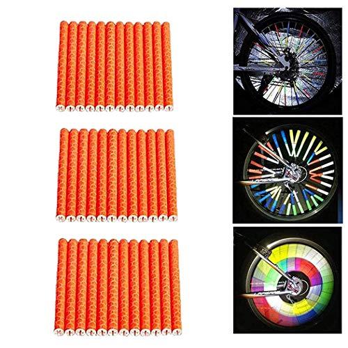 JPC Reflektoren Speichen 36 Stücks Reflektierende Speichensticks Clips 360° Speichenreflektoren für Fahrradspeichen Reflektor Fahrrad Warnstreifen Reflektoren (Orange)