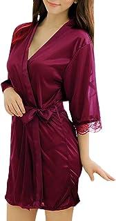 Sidiou Group Peignoir Satin Robe de Chambre Kimono Femme Sortie de Bain Nuisette Déshabillé Vêtements de Nuit Femme Satin ...