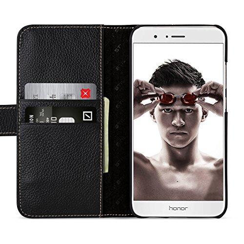 StilGut Leder-Hülle kompatibel mit Huawei Honor 8 Pro Brieftasche mit Kartenfächer, schwarz