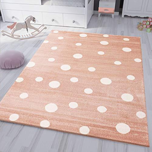 VIMODA Teppich Flauschig Rosa Weiß Gepunktet, Maße:120x170 cm