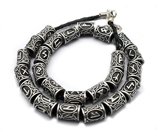 Happy reunion Viking Rune Beard Beads 24 Pcs Norse Rings 0.51' Black Norse Viking Celtic Beard Beads Rings Vikings Runes Viking Hair Beads for Women and Men (Black)