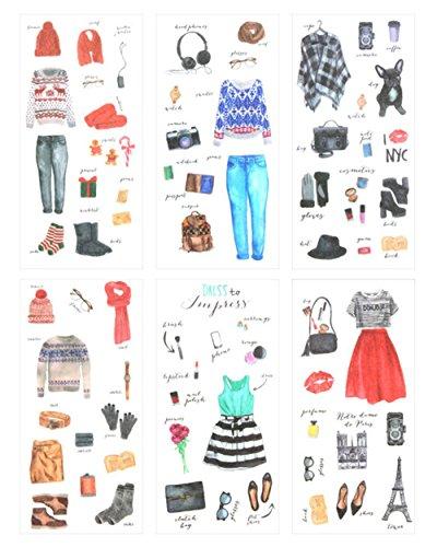 Ai-life 6 Bögen Washi-Papier, dekorative selbstklebende Aufkleber, Kinder, Basteln, Scrapbooking, Cartoon-Aufkleber-Set für Tagebuch, Album, Kalender, Planer Typ H
