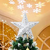 Solpex Christmas Tree Topper Lighted with Star Rotating Snowflake...