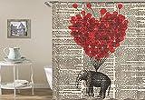 Red Heart Ballon Elefant Zeitung Duschvorhang, Badvorhänge Wasserdicht, schimmelfest