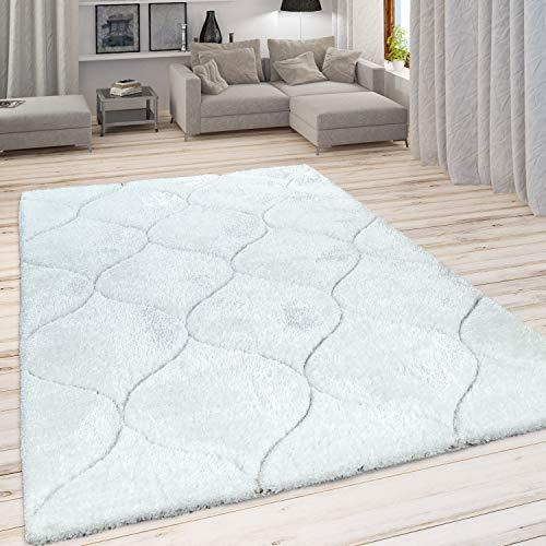 Paco Home Hochflor Teppich, Kuscheliger Wohnzimmer Pastell Shaggy, 3D Muster m. Soft Garn, Grösse:120x160 cm, Farbe:Weiß