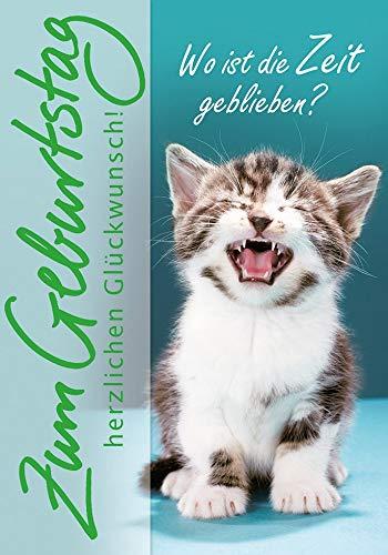 Geburtstagskarte Basic Classic - Katze - 11,6 x 16,6 cm
