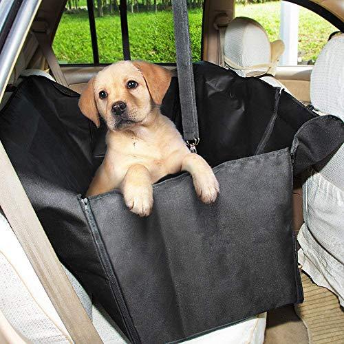 GHB Cubierta de Asiento de la Hamaca del Coche con Doble Cremallera Cubierta de Protección del Perro para Mascotas y Viajes Negro