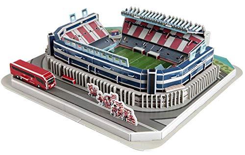 JXS Atletico DE Madrid Puzzle 3D - Vicente Calderón Estadio Modelo - Famosos Juguetes de Rompecabezas de construcción - 33.5×32×9cm 156pcs