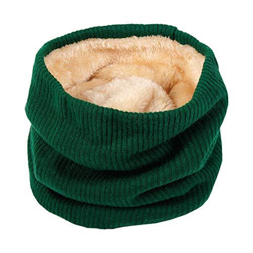 Emorias 1 Pcs Babero para Mujer Felpa A Prueba de Viento Pañuelo de Señora Mantener Caliente Espesar Tejida Bufanda - Verde Oscuro