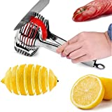 Tomato Lemon Slicer Holder Round Fruits Onion Shreader Cutter Guide Tongs with Handle Kitchen Cutting Potato Lime Food Stand Stainless Steel
