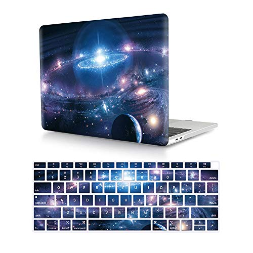 HRH 2 in 1 Galaxy Universe Starry Sky Laptop Body Shell Protective Hard Case Cover Silicone Keyboard Cover for MacBook New Air 13' Retina Display Fingerprint Touch ID (Model A1932,2018 Release)