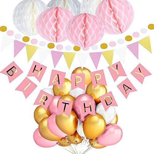 Junto 'Feliz cumpleaños' con globos rosados, blancos y dorados, guirnalda, pom pom, banderas, Decoración, fiestas de cumpleaños, 30 piezas by TARGARIAN