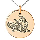 Tioneer Rose Gold Plated Stainless Steel Greek Mythology Chimera Symbol Small Medallion Circle Charm Pendant Necklace