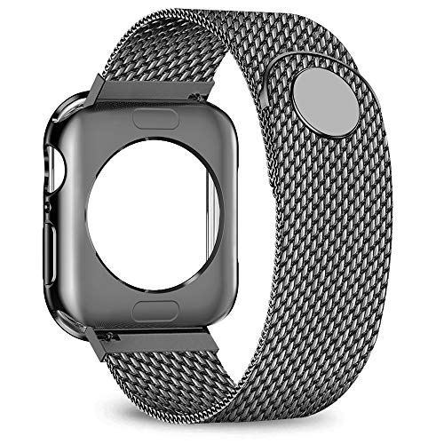 jwacct Compatible for Apple Watch Band with Screen Protector 38mm 40mm 42mm 44mm, Soft TPU Frame Case Cover Bumper Compatible for iwatch Series 1/2/3/4/5 Space Gray