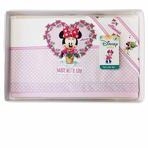 Minnie Disney Parure de lit 3 pièces pour bébé Blanc rose