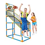 Basketball Hoop Play Set Arcade Shot Game - Indoor/Outdoor Sports Shooting System with Mini Hoop, Inflatable Ball and Pump. for 3,4,5,6 and up Kids Play Indoor and Outdoor