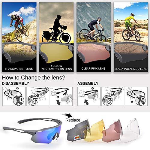 Snowledge Sportbrille Fahrradbrille Herren und Damen Sonnenbrille Erwachsene Sport Radbrille Polarisiert Windschutz Brille Motorradbrille Rahmen TR90 UV400 Schutz - 5