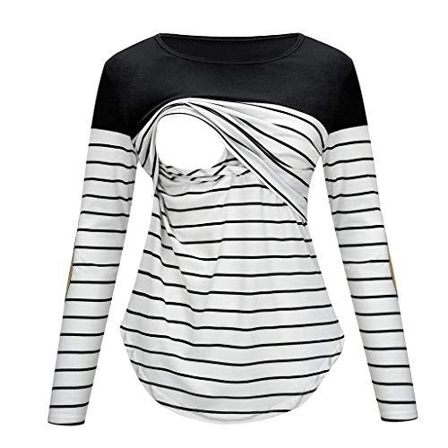 Blouse de Maternité,Covermason Femme Vêtements de maternité Tops d'allaitement Haut d'allaitement T-Shirts Manches Longues Rayé Sweat Shirt pour Les Soins Infirmiers Enceintes (Noir, S)