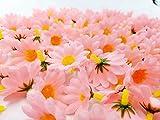 JZK 100 x künstliche blau Handwerk Gerbera Daisy Gänseblümchen Stoff Blumen Köpfe, Hochzeit Party Tisch Scatters Konfetti, DIY Scrapbook Zubehör, Einladung Karte Dekoration (rosa) - 5