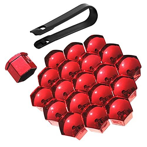 Bseical 20 Stücke Schraubenabdeckung,Radmutter Kappe Universal für Schrauben mit Entfernung Werkzeug Set für Autos,ABS Abdeckkappen für Schrauben KFZ 17mm丨19mm丨21mm Galvanikprozess (Rot, 17mm)