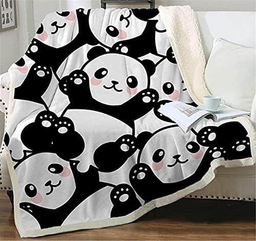 Sviuse Panda Throw Blanket Sherpa Fleece Blanket Cartoon Panda Pattern Lightweight Throw for Bed Sofa Travel Kids Teens Birthday Gifts (50' X 60') (Panda 7)