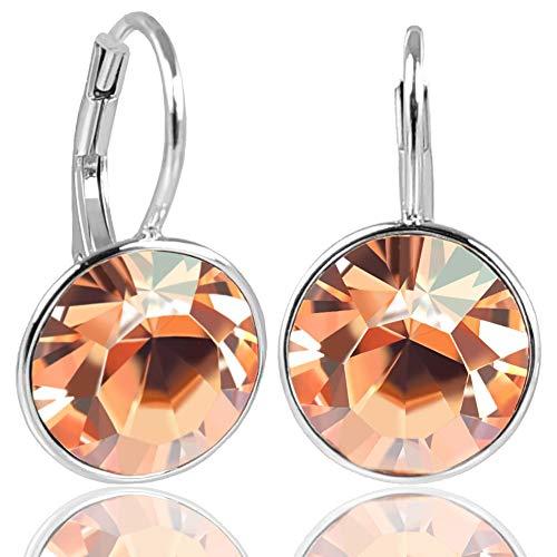 NOBEL SCHMUCK Silberohrringe mit Kristallen von Swarovski® 925 Sterling Silver - Light Peach