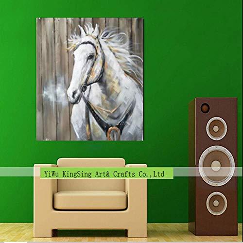 WSNDGWS Dibujado a Mano Cabeza de Caballo Animal Pintura al óleo Decorativa C4 50x50cm