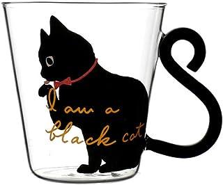 IBLUELOVER Tasse en Verre Mug Original Chat Mignon Tasse Transparent Tasse à Café Thé Lait Expresso Cappuccino Créatif Cha...