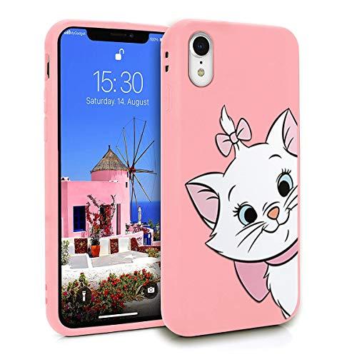ZhuoFan Cover iPhone XR, Custodia Cover Silicone Rosa con Disegni Ultra Slim TPU Morbido Antiurto 3D Cartoon Bumper Case Protettiva per iPhone XR, Gatto
