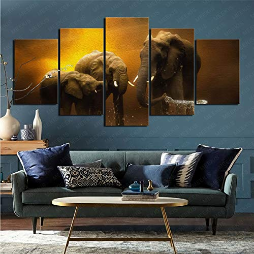 CELLYONE Art print on canvas, exquisite animal elephant on the wall, suitable for restaurants and hotels 100x50cm frameless