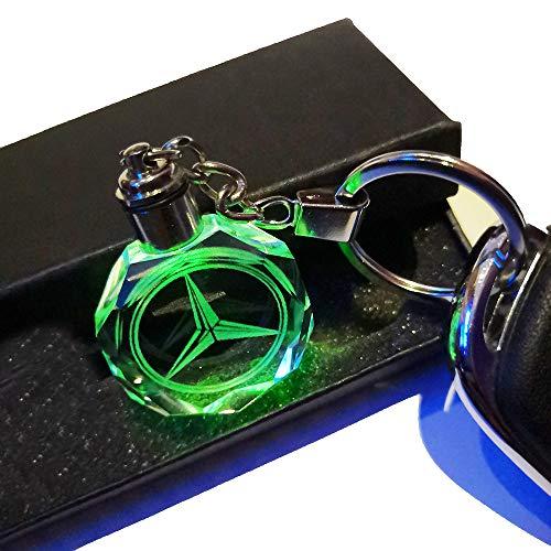 VILLSION LED Logo Schlüsselanhänger Auto Emblem Keychain Mehrfarbig Kristall Licht Umfassen Geschenkbox