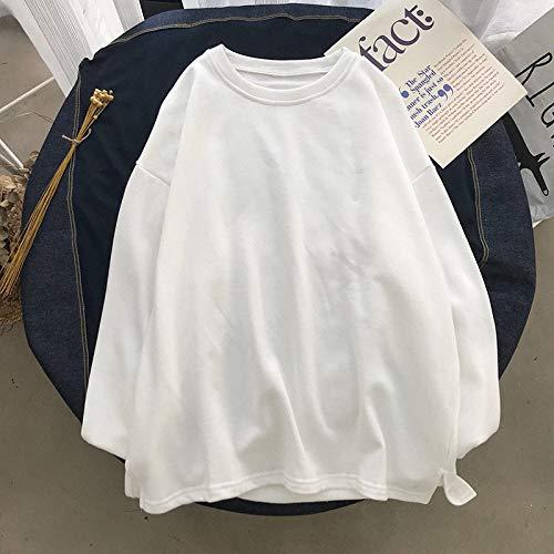 T Shirts Manches Longues,Les Hommes De Couleur Pure Style Hong Kong Décontracté Col Rond Blanc Sauvage,Tee Shirt De Sport Quick-Drying Respirant Vêtements D'Affaires Chandail Tricoté Veste Stretc
