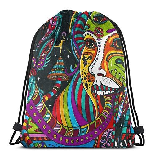 Colorido Psicodélico Hippie Arabesque Patrón Con Cordón Mochila Deportes Gimnasio Sackpack Bolsa De Viaje Para Niños Hombres Mujeres