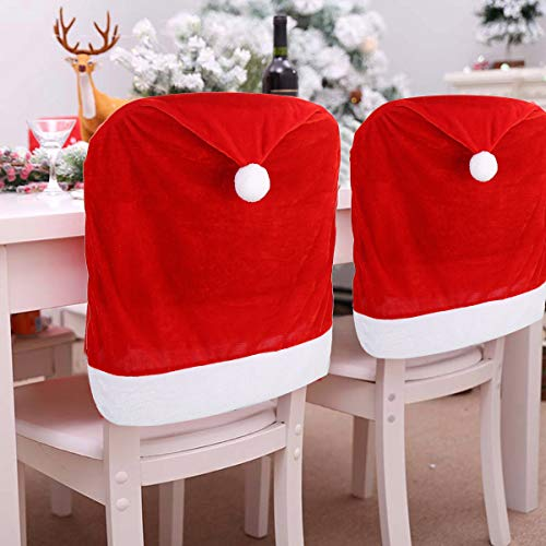 4pc Red Hat Dining Chair Slipcovers,Christmas Chair Back Covers Kitchen Chair Covers for Christmas Holiday Festival Decoration