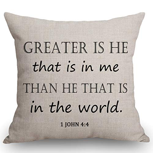 SSOIU Greater is He That is in me, Than he That is in The World, Bible Scripture Christian Cotton Linen Decorative Home Office Throw Pillow Case Couch Cushion Cover 18X18 inches