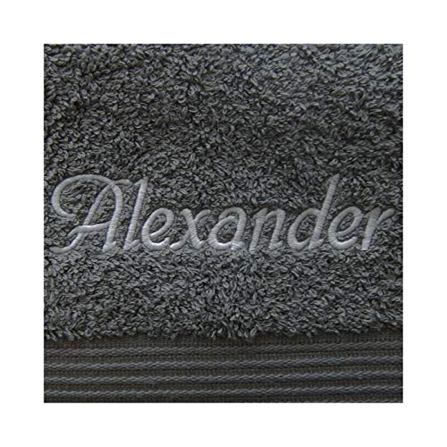 KringsFashion Handtuch mit Namen nach Wunsch Bestickt, 50 x 100 cm, Anthrazit, Farbe Name Hellgrau, Qualität von Deutschen Herstellern, schwere Premium-Qualität 550 g/qm, 100% Baumwolle
